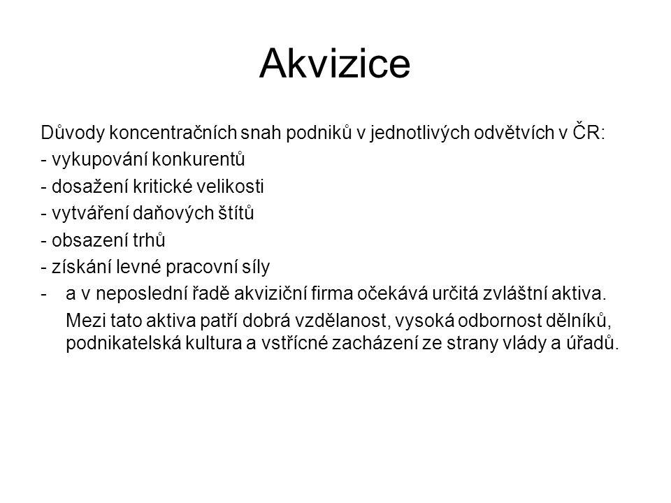 Akvizice Důvody koncentračních snah podniků v jednotlivých odvětvích v ČR: - vykupování konkurentů - dosažení kritické velikosti - vytváření daňových štítů - obsazení trhů - získání levné pracovní síly -a v neposlední řadě akviziční firma očekává určitá zvláštní aktiva.