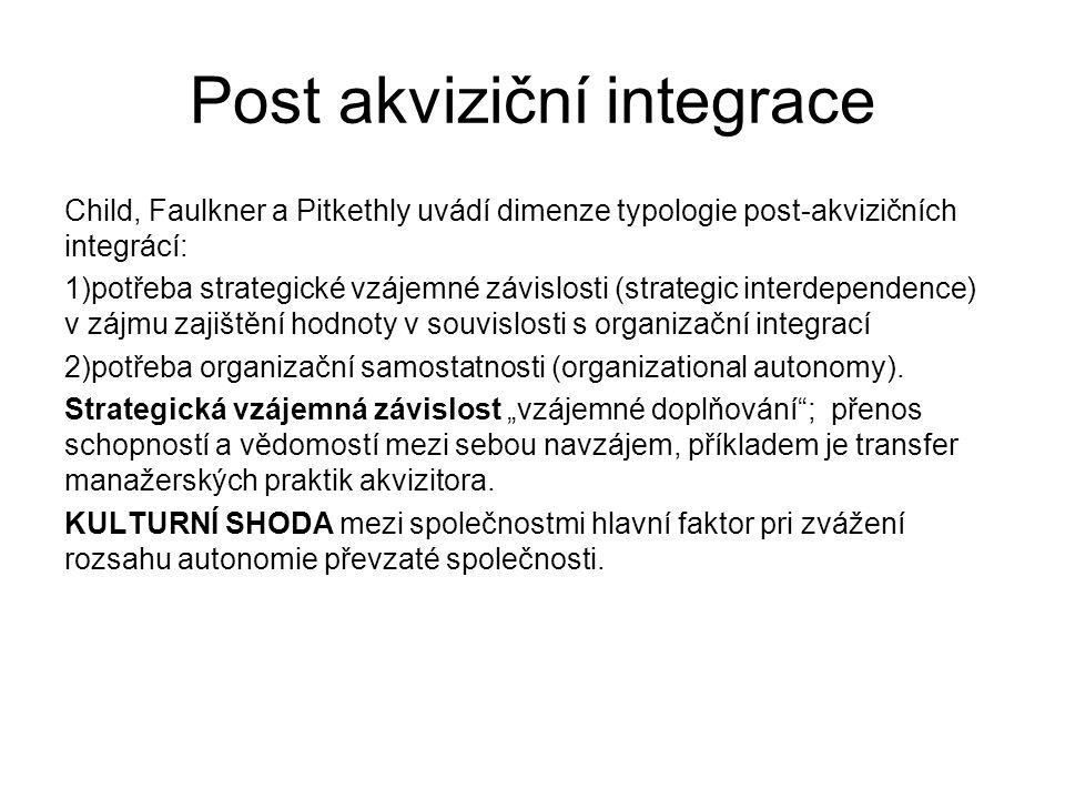 Post akviziční integrace Child, Faulkner a Pitkethly uvádí dimenze typologie post-akvizičních integrácí: 1)potřeba strategické vzájemné závislosti (strategic interdependence) v zájmu zajištění hodnoty v souvislosti s organizační integrací 2)potřeba organizační samostatnosti (organizational autonomy).