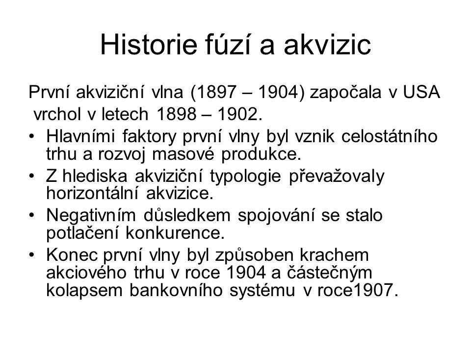 Historie fúzí a akvizic První akviziční vlna (1897 – 1904) započala v USA vrchol v letech 1898 – 1902.