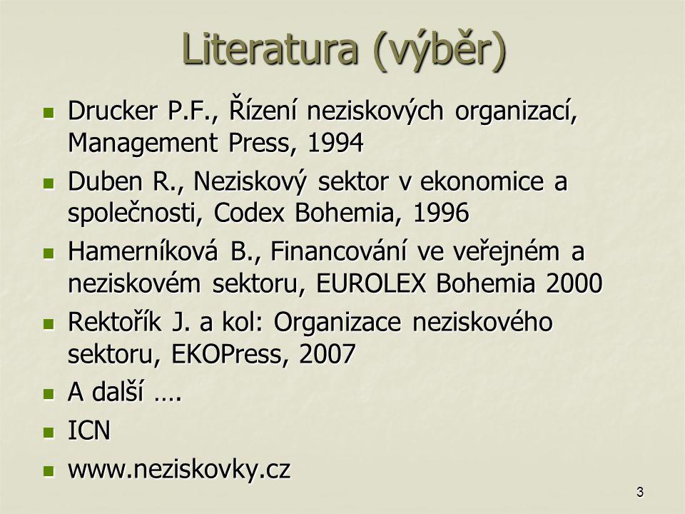 3 Literatura (výběr) Drucker P.F., Řízení neziskových organizací, Management Press, 1994 Drucker P.F., Řízení neziskových organizací, Management Press