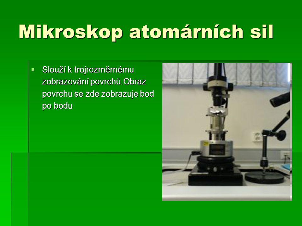 Mikroskop atomárních sil  Slouží k trojrozměrnému zobrazování povrchů.Obraz povrchu se zde zobrazuje bod po bodu