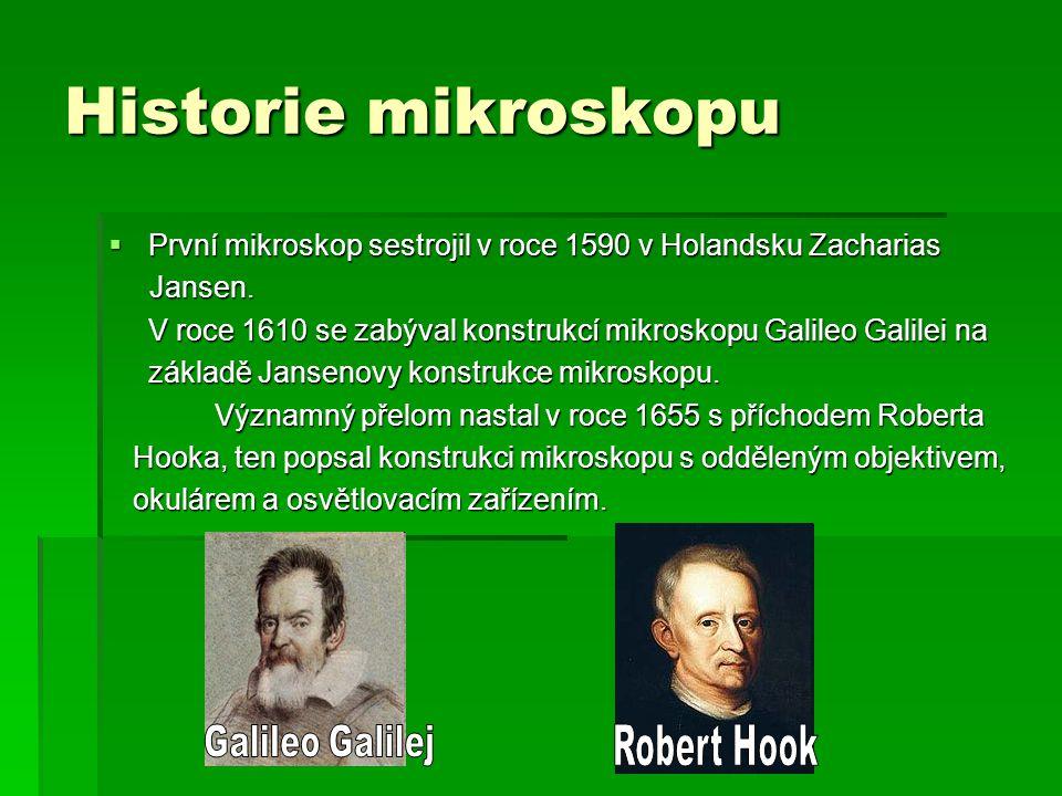 Historie mikroskopu  První mikroskop sestrojil v roce 1590 v Holandsku Zacharias Jansen. Jansen. V roce 1610 se zabýval konstrukcí mikroskopu Galileo