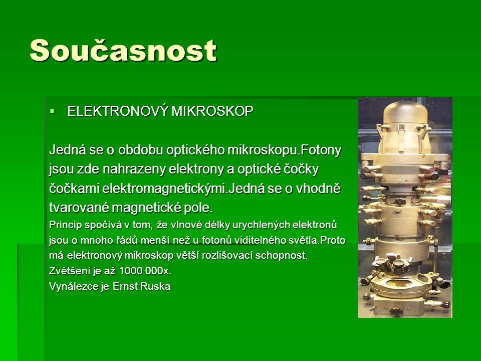 Současnost  ELEKTRONOVÝ MIKROSKOP Jedná se o obdobu optického mikroskopu.Fotony jsou zde nahrazeny elektrony a optické čočky čočkami elektromagnetickými.Jedná se o vhodně tvarované magnetické pole.