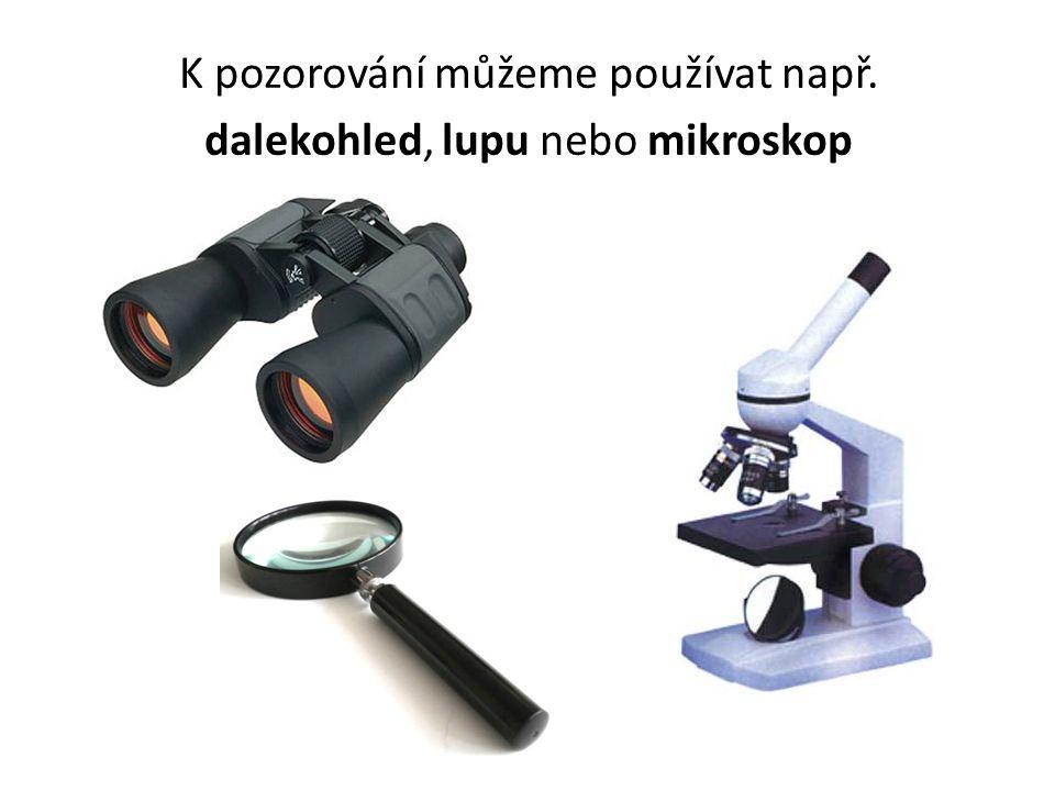 K pozorování můžeme používat např. dalekohled, lupu nebo mikroskop