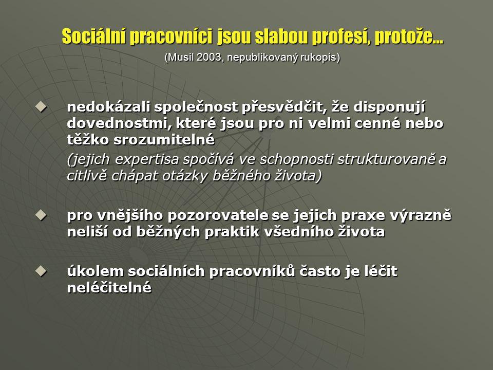 Sociální pracovníci jsou slabou profesí, protože… (Musil 2003, nepublikovaný rukopis)  nedokázali společnost přesvědčit, že disponují dovednostmi, kt