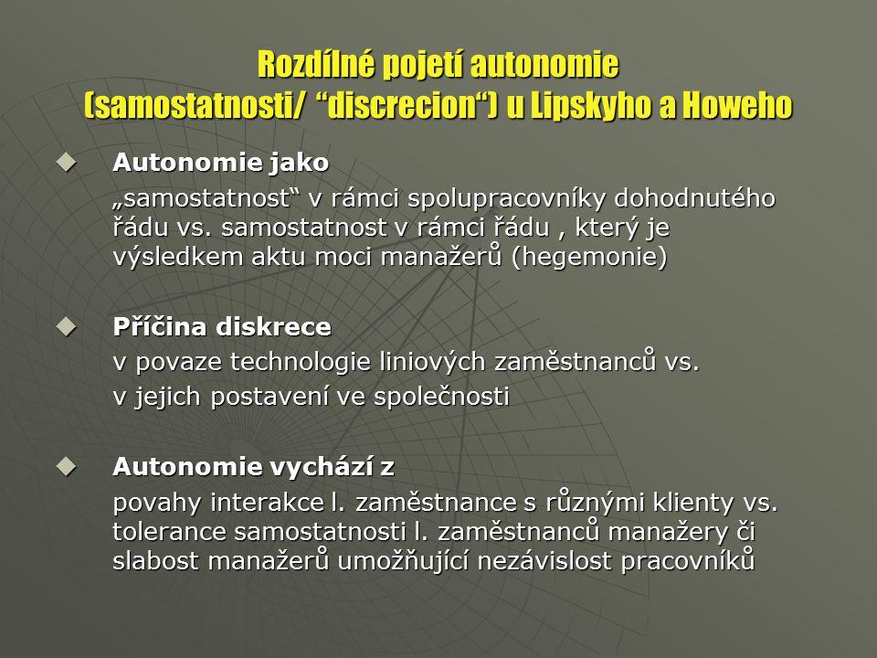 "Rozdílné pojetí autonomie (samostatnosti/ discrecion ) u Lipskyho a Howeho  Autonomie jako ""samostatnost v rámci spolupracovníky dohodnutého řádu vs."
