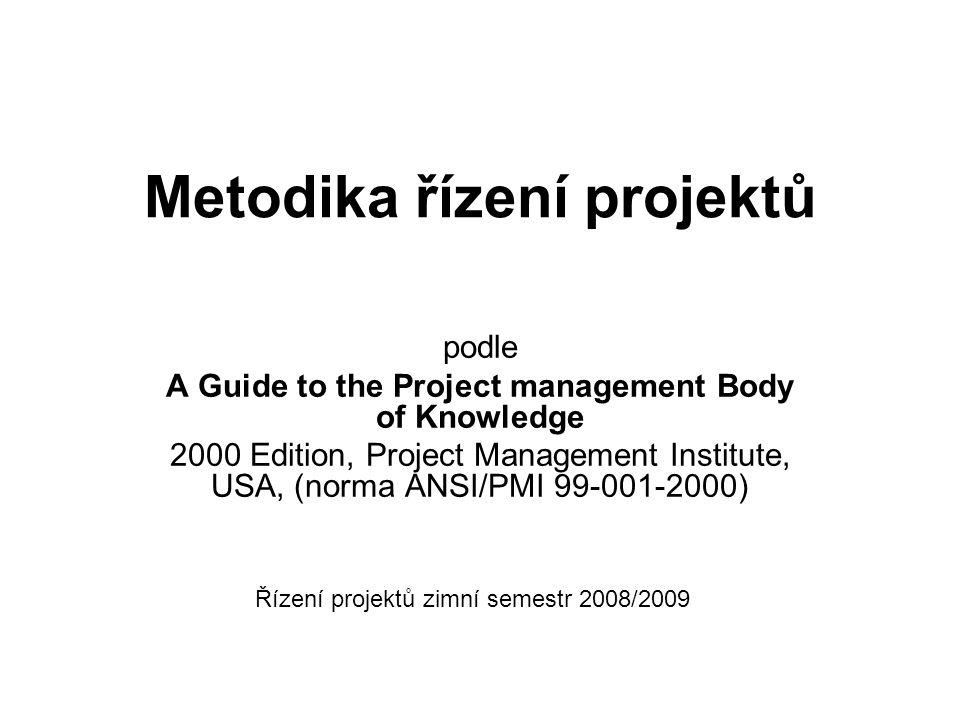 Metodika řízení projektů podle A Guide to the Project management Body of Knowledge 2000 Edition, Project Management Institute, USA, (norma ANSI/PMI 99