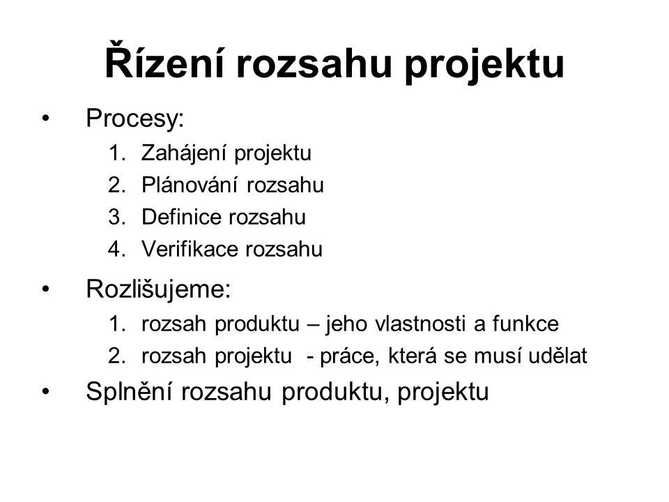 Řízení rozsahu projektu Procesy: 1.Zahájení projektu 2.Plánování rozsahu 3.Definice rozsahu 4.Verifikace rozsahu Rozlišujeme: 1.rozsah produktu – jeho