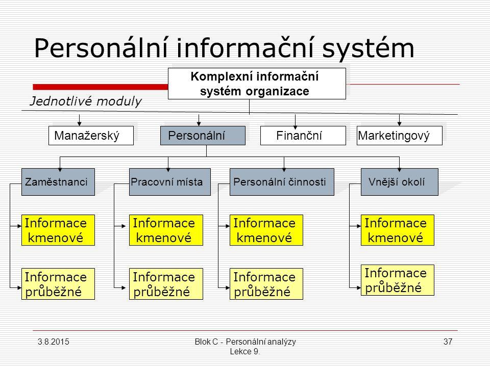 Kontrolní nástroje personálních analýz Personální informační systém  Bez PIS jsou personální analýzy jen obtížně vykonavatelné  PIS je v kompetenci