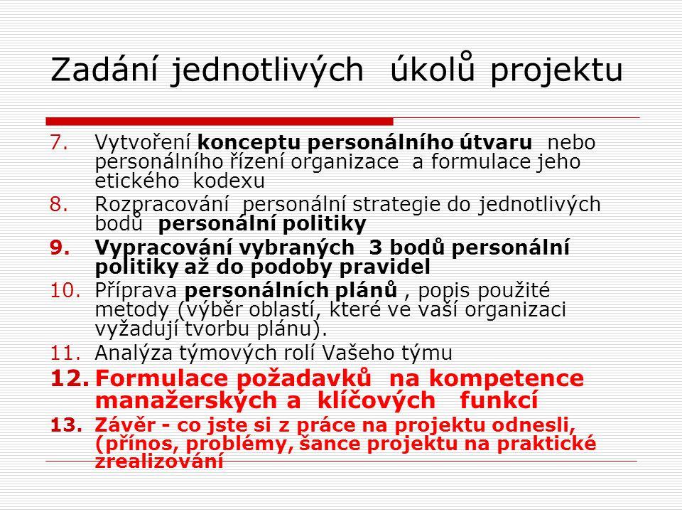 Zadání jednotlivých úkolů projektu 7.Vytvoření konceptu personálního útvaru nebo personálního řízení organizace a formulace jeho etického kodexu 8.Rozpracování personální strategie do jednotlivých bodů personální politiky 9.Vypracování vybraných 3 bodů personální politiky až do podoby pravidel 10.Příprava personálních plánů, popis použité metody (výběr oblastí, které ve vaší organizaci vyžadují tvorbu plánu).