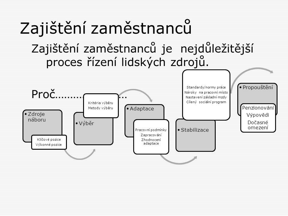 4 hlavní procesy V centru pozornosti strategie organizace je dosahování cílů prostřednictvím lidí. Procesy personálního řízení Zajištění a stabilizace