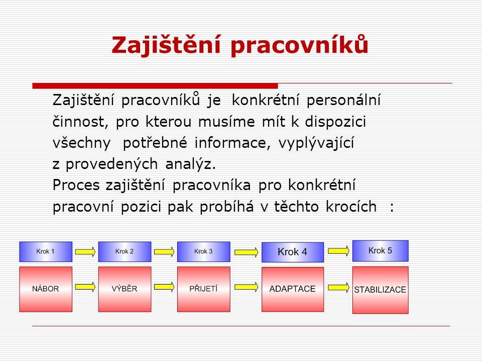 Provázanost personálních procesů Získávání zaměstnanců (vstupní potenciál) Rozvoj a vzdělávání (saturace schopností) Řízení výkonu (výstupy) Pobídková
