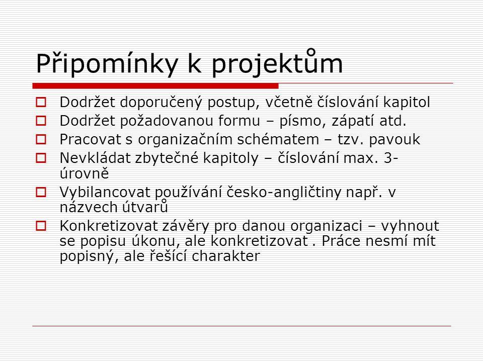 Zadání jednotlivých úkolů projektu 7.Vytvoření konceptu personálního útvaru nebo personálního řízení organizace a formulace jeho etického kodexu 8.Roz