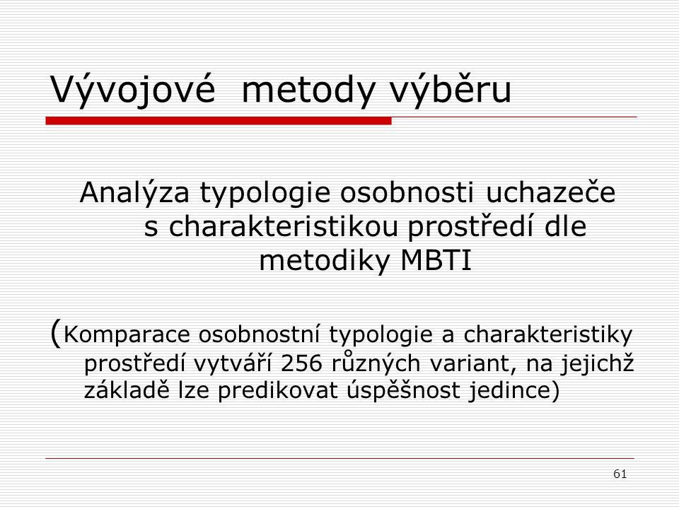 Hodnocení uchazeče v rámci VŘ Hodnotící krychle Schopnosti = vstupní potenciál Chování = způsob dosahování cílů Výkon = výstupní efekt
