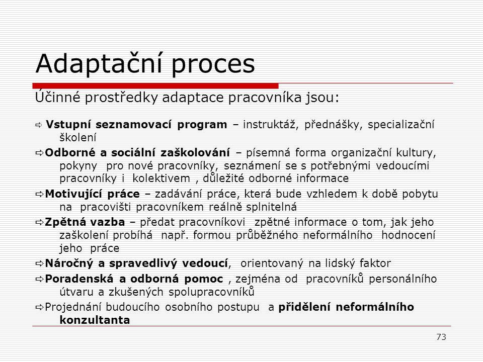 4. Adaptační proces Adaptační proces je získávání a osvojování si specifických poznatků a dovedností pro převzetí určité úlohy ve společnosti. Délka a