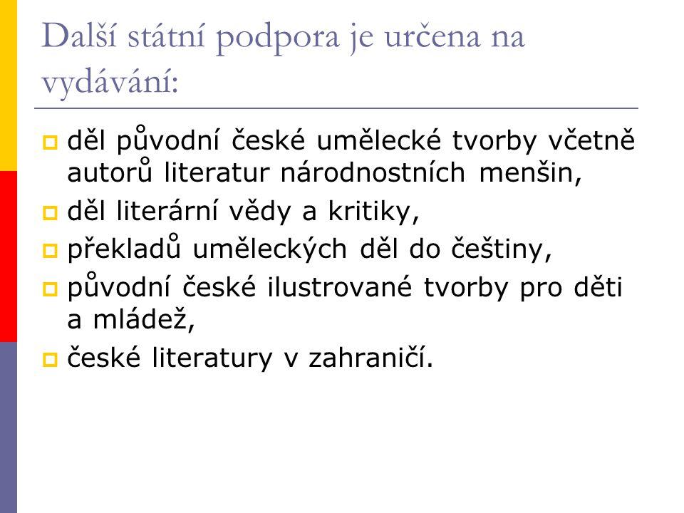 Další státní podpora je určena na vydávání:  děl původní české umělecké tvorby včetně autorů literatur národnostních menšin,  děl literární vědy a kritiky,  překladů uměleckých děl do češtiny,  původní české ilustrované tvorby pro děti a mládež,  české literatury v zahraničí.