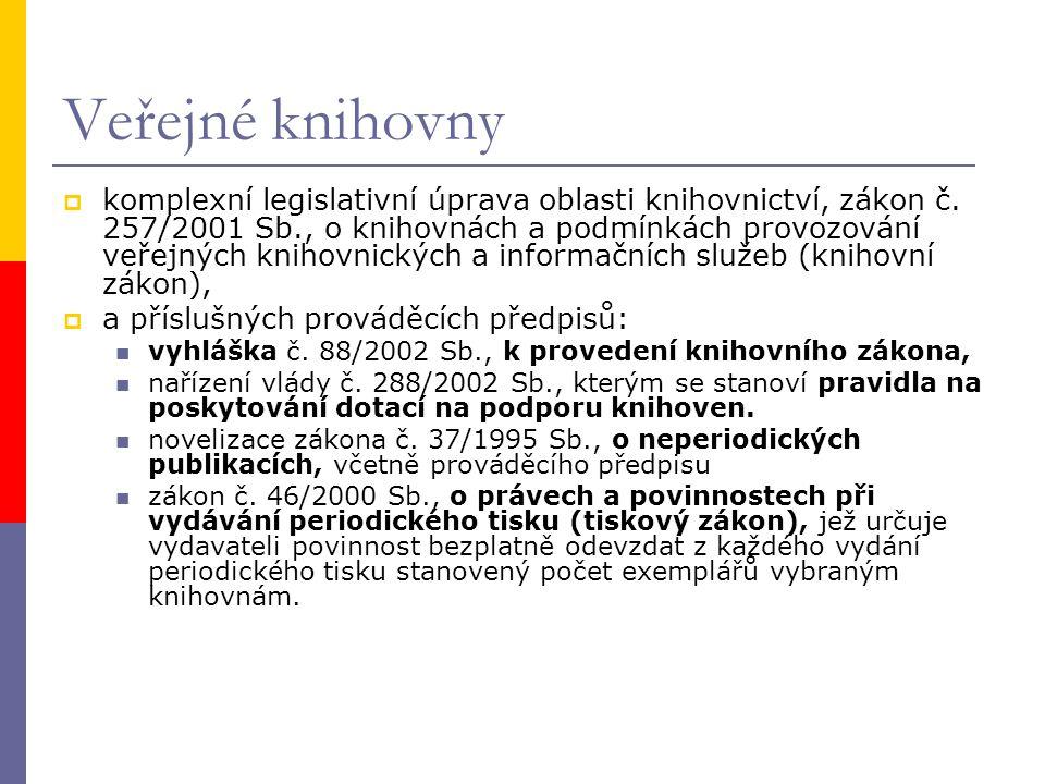 Veřejné knihovny  komplexní legislativní úprava oblasti knihovnictví, zákon č.