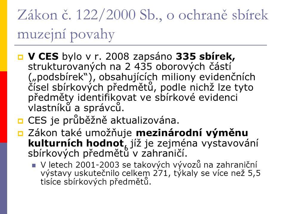 Zákon č. 122/2000 Sb., o ochraně sbírek muzejní povahy  V CES bylo v r.