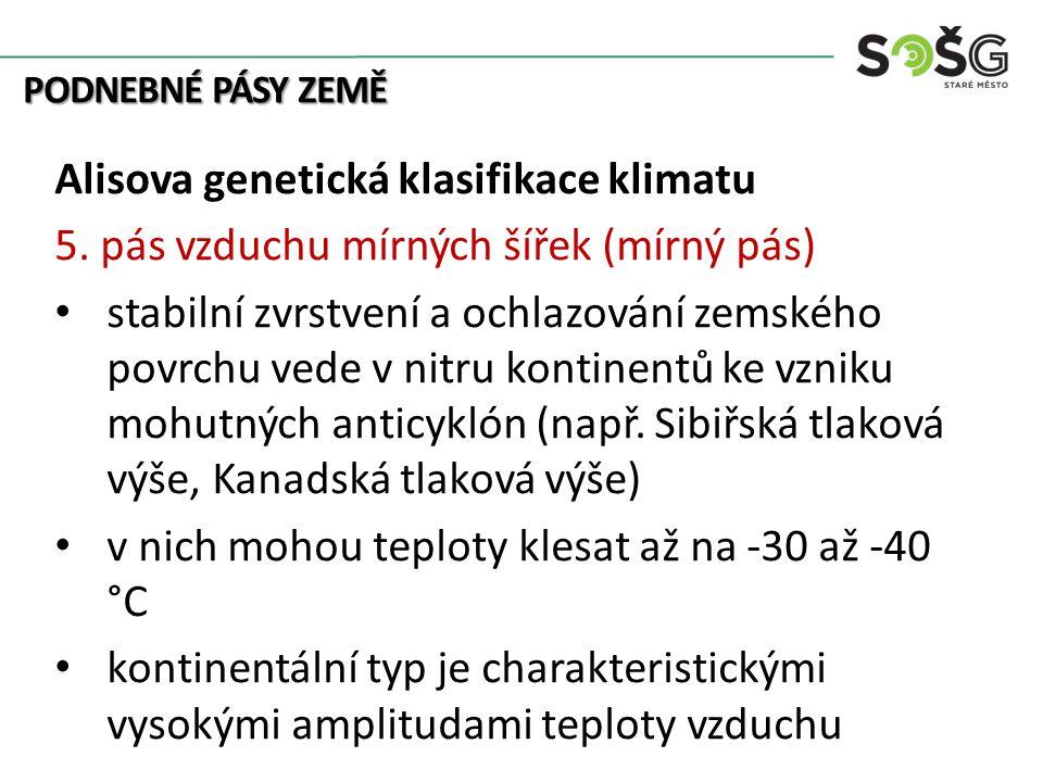 PODNEBNÉ PÁSY ZEMĚ Alisova genetická klasifikace klimatu 5. pás vzduchu mírných šířek (mírný pás) stabilní zvrstvení a ochlazování zemského povrchu ve