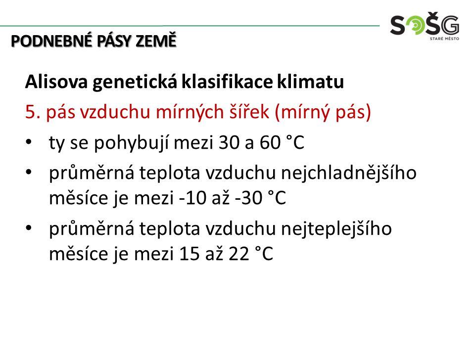 PODNEBNÉ PÁSY ZEMĚ Alisova genetická klasifikace klimatu 5. pás vzduchu mírných šířek (mírný pás) ty se pohybují mezi 30 a 60 °C průměrná teplota vzdu
