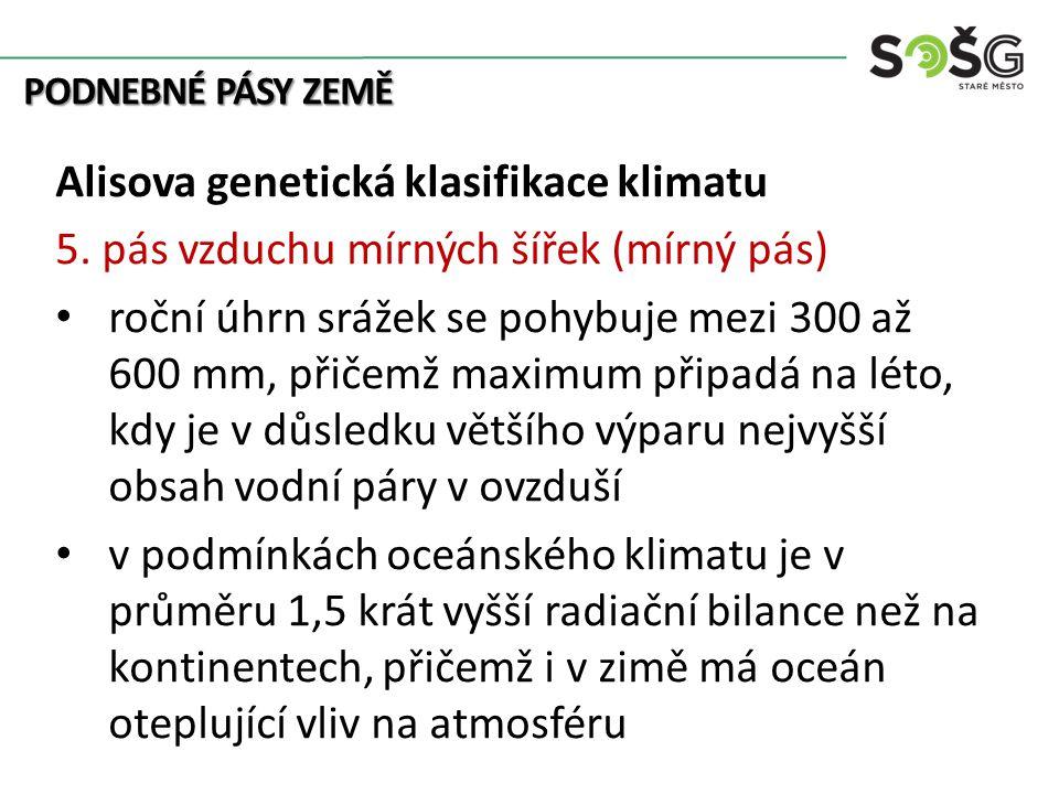PODNEBNÉ PÁSY ZEMĚ Alisova genetická klasifikace klimatu 5. pás vzduchu mírných šířek (mírný pás) roční úhrn srážek se pohybuje mezi 300 až 600 mm, př