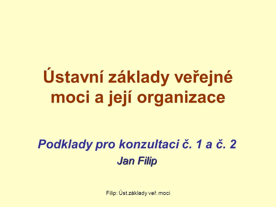 Filip: Úst.základy veř. moci Ústavní základy veřejné moci a její organizace Podklady pro konzultaci č. 1 a č. 2 Jan Filip