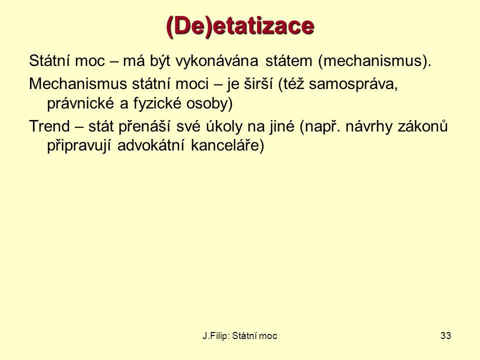J.Filip: Státní moc33(De)etatizace Státní moc – má být vykonávána státem (mechanismus). Mechanismus státní moci – je širší (též samospráva, právnické