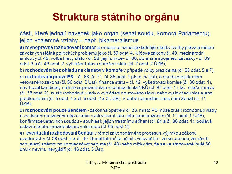 Struktura státního orgánu části, které jednají navenek jako orgán (senát soudu, komora Parlamentu), jejich vzájemné vztahy – např. bikameralismus a) r