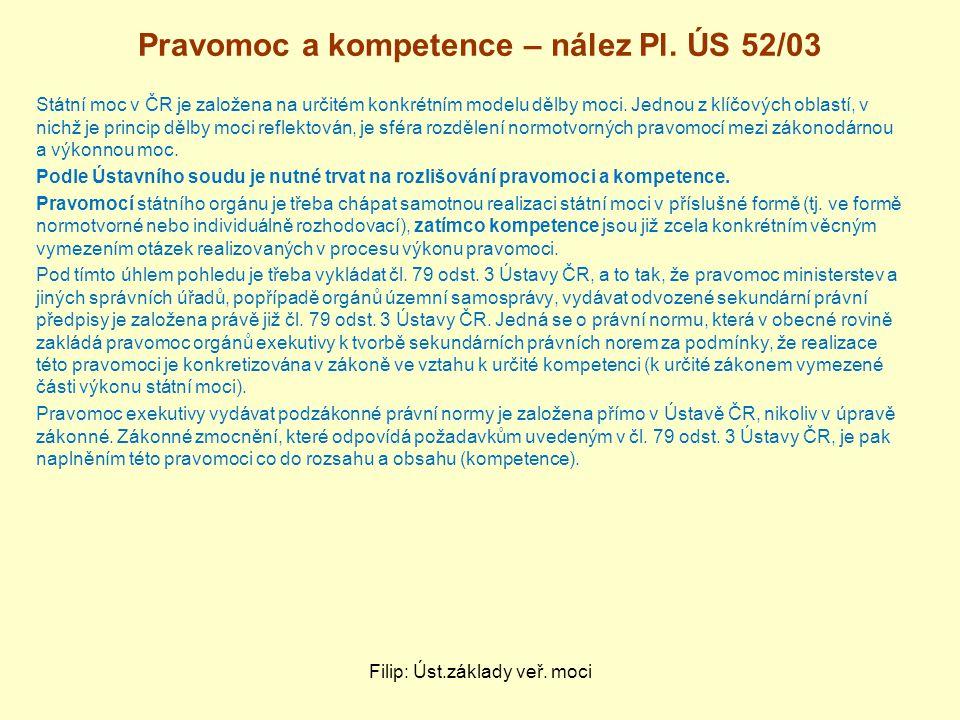 Pravomoc a kompetence – nález Pl. ÚS 52/03 Státní moc v ČR je založena na určitém konkrétním modelu dělby moci. Jednou z klíčových oblastí, v nichž je