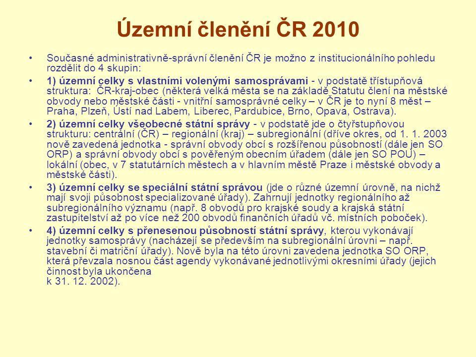 Územní členění ČR 2010 Současné administrativně-správní členění ČR je možno z institucionálního pohledu rozdělit do 4 skupin: 1) územní celky s vlastn