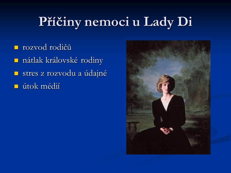 Příčiny nemoci u Lady Di rozvod rodičů rozvod rodičů nátlak královské rodiny nátlak královské rodiny stres z rozvodu a údajné stres z rozvodu a údajné