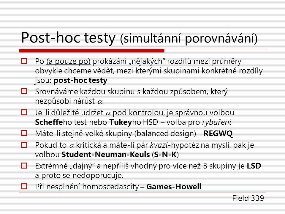 """Post-hoc testy (simultánní porovnávání)  Po (a pouze po) prokázání """"nějakých"""" rozdílů mezi průměry obvykle chceme vědět, mezi kterými skupinami konkr"""