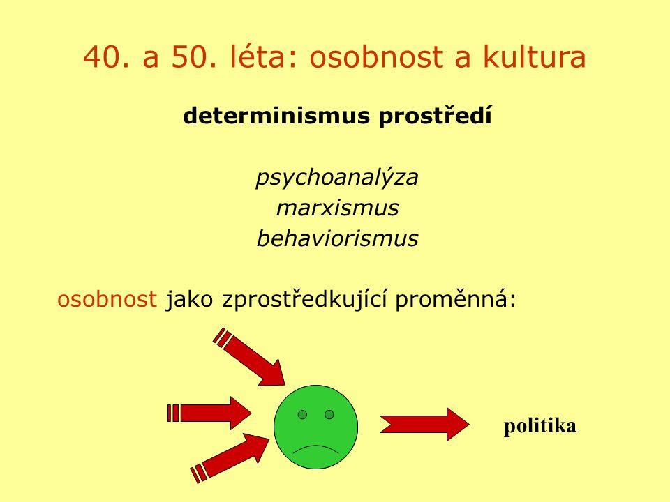 40. a 50. léta: osobnost a kultura determinismus prostředí psychoanalýza marxismus behaviorismus osobnost jako zprostředkující proměnná: politika