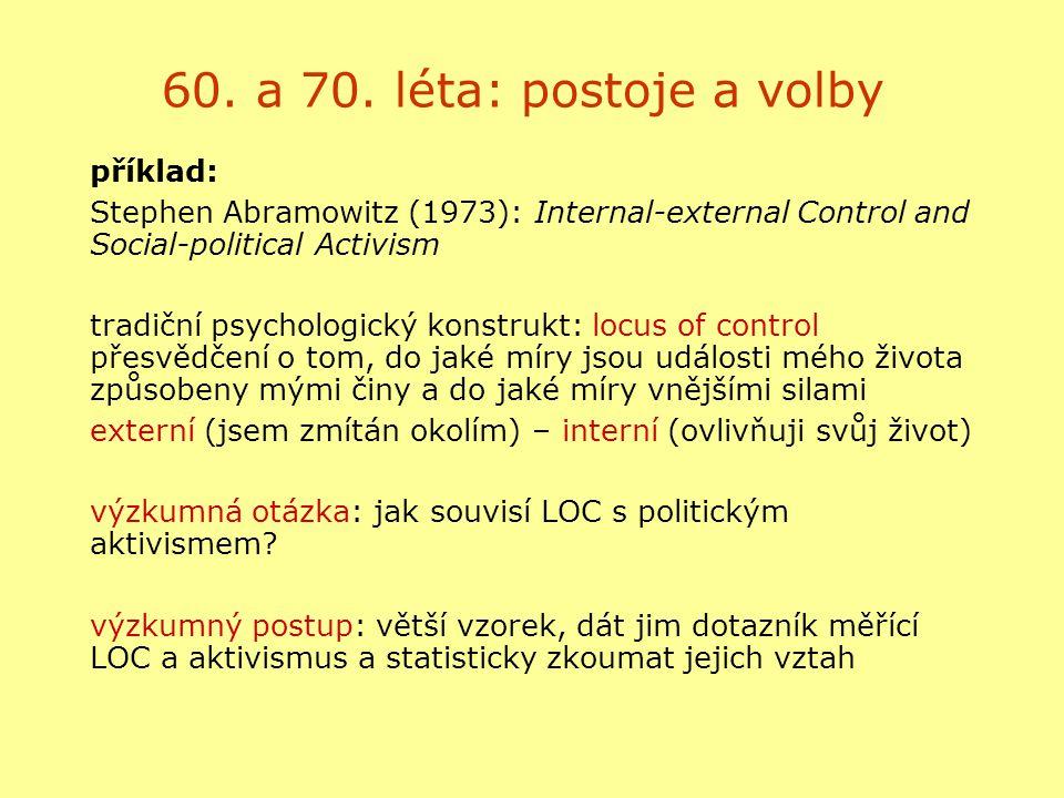 60. a 70. léta: postoje a volby příklad: Stephen Abramowitz (1973): Internal-external Control and Social-political Activism tradiční psychologický kon