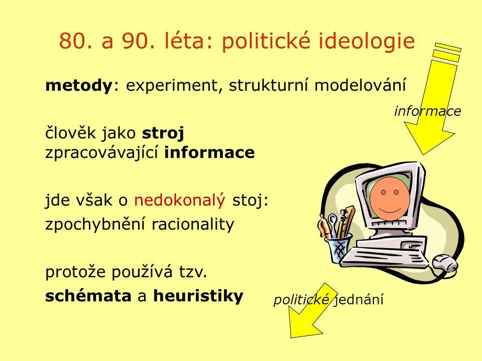 80. a 90. léta: politické ideologie metody: experiment, strukturní modelování člověk jako stroj zpracovávající informace jde však o nedokonalý stoj: z