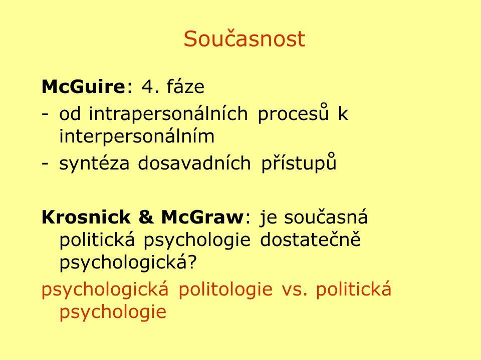 Současnost McGuire: 4. fáze -od intrapersonálních procesů k interpersonálním -syntéza dosavadních přístupů Krosnick & McGraw: je současná politická ps