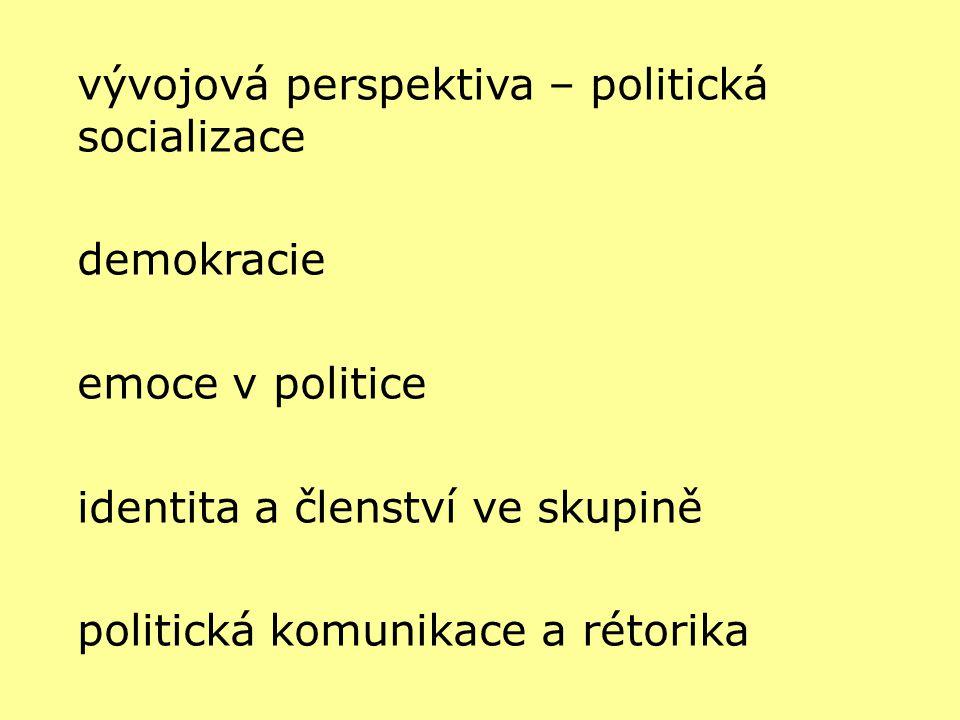 vývojová perspektiva – politická socializace demokracie emoce v politice identita a členství ve skupině politická komunikace a rétorika