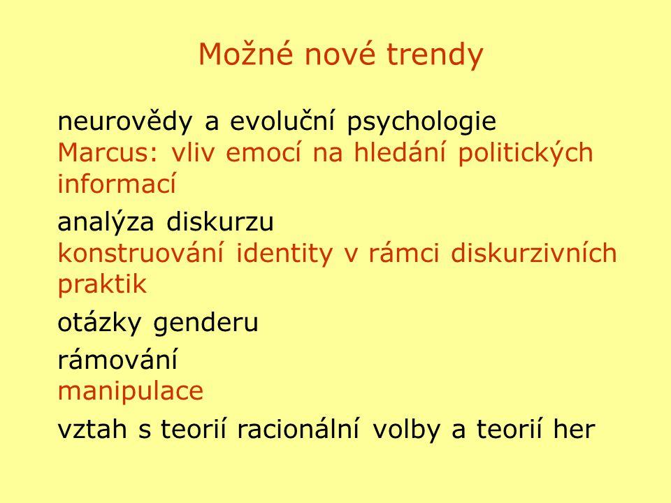 Možné nové trendy neurovědy a evoluční psychologie Marcus: vliv emocí na hledání politických informací analýza diskurzu konstruování identity v rámci