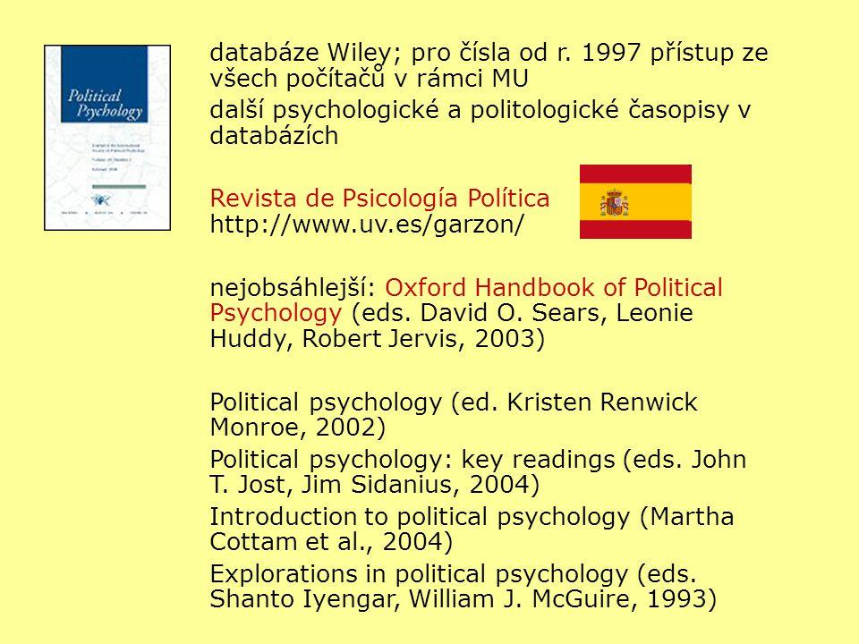 databáze Wiley; pro čísla od r. 1997 přístup ze všech počítačů v rámci MU další psychologické a politologické časopisy v databázích Revista de Psicolo