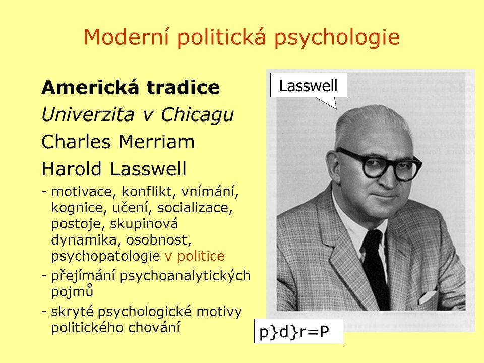 Moderní politická psychologie Americká tradice Univerzita v Chicagu Charles Merriam Harold Lasswell -motivace, konflikt, vnímání, kognice, učení, soci