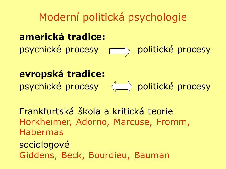 americká tradice: psychické procesypolitické procesy evropská tradice: psychické procesypolitické procesy Frankfurtská škola a kritická teorie Horkhei