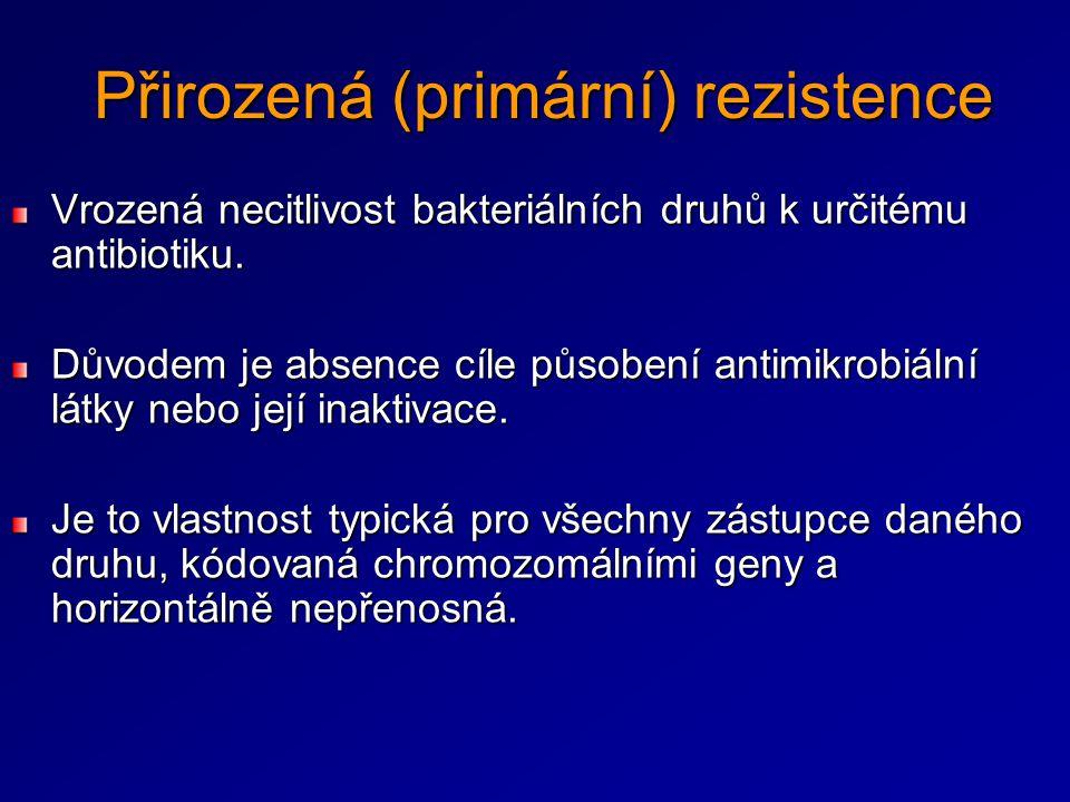 Přirozená (primární) rezistence Vrozená necitlivost bakteriálních druhů k určitému antibiotiku. Důvodem je absence cíle působení antimikrobiální látky