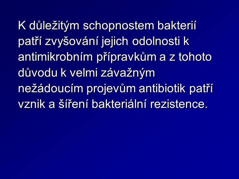 Mechanismy rezistence bakterií k antibiotikům Snížená až zcela znemožněná penetrace ATB do bakteriální buňky Změna cílové struktury (receptoru) Inhibice antibiotika pomocí enzymů, které mohou jak destruovat samotné antibiotikum, tak inhibovat mechanismus jeho účinku