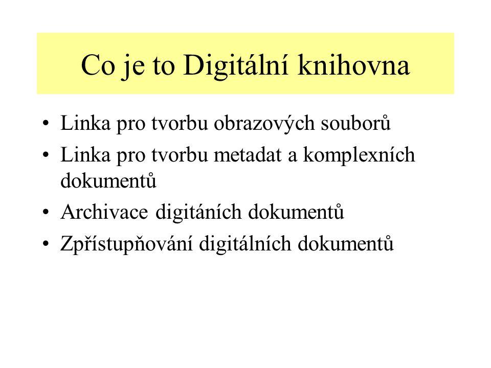 Co je to Digitální knihovna Linka pro tvorbu obrazových souborů Linka pro tvorbu metadat a komplexních dokumentů Archivace digitáních dokumentů Zpřístupňování digitálních dokumentů