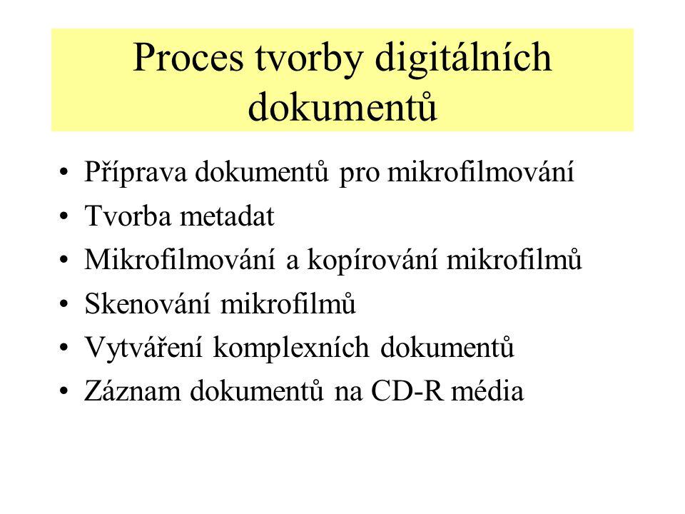 Proces tvorby digitálních dokumentů Příprava dokumentů pro mikrofilmování Tvorba metadat Mikrofilmování a kopírování mikrofilmů Skenování mikrofilmů Vytváření komplexních dokumentů Záznam dokumentů na CD-R média