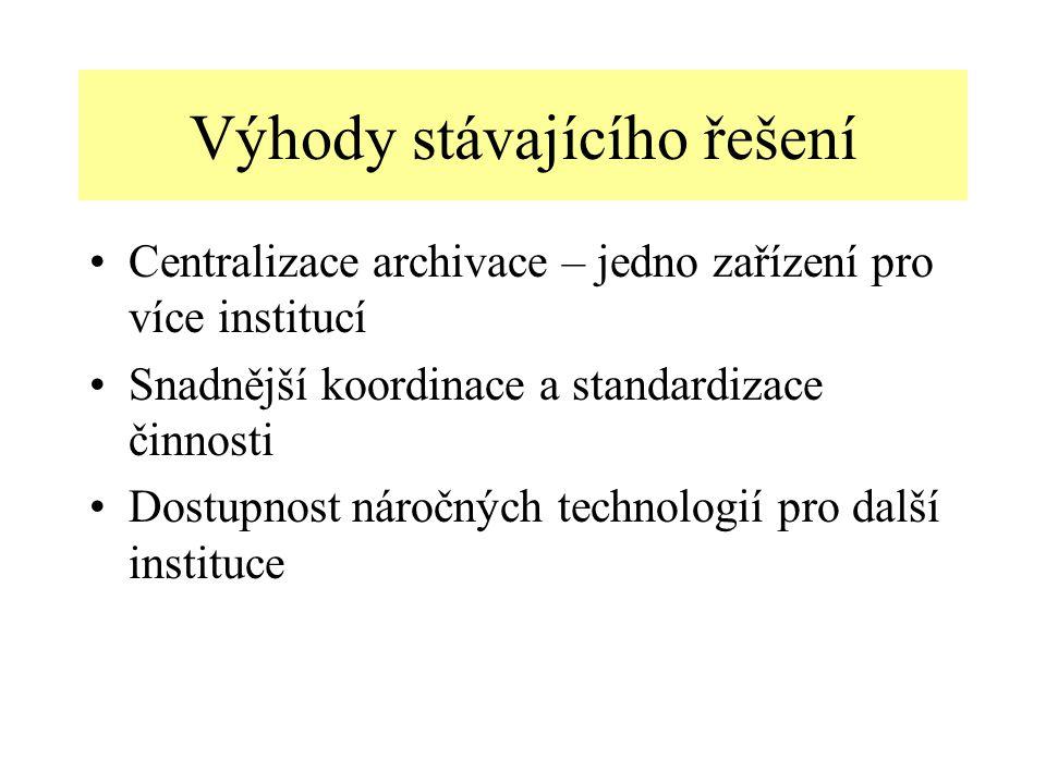 Výhody stávajícího řešení Centralizace archivace – jedno zařízení pro více institucí Snadnější koordinace a standardizace činnosti Dostupnost náročných technologií pro další instituce