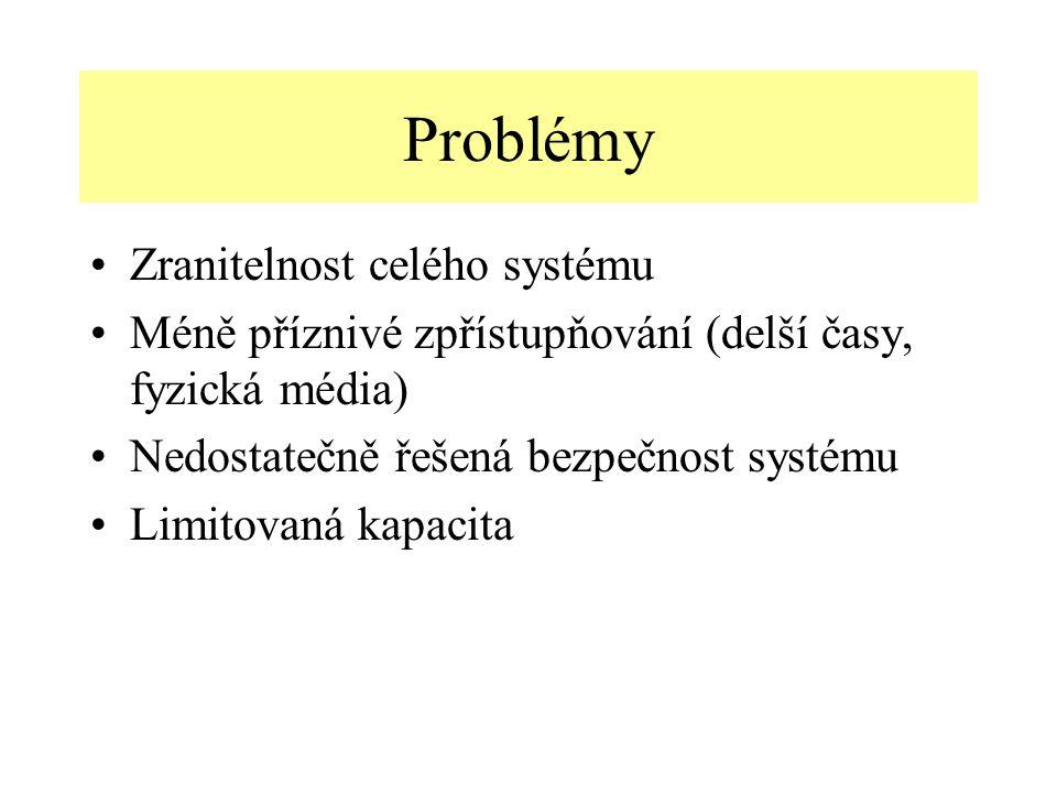 Problémy Zranitelnost celého systému Méně příznivé zpřístupňování (delší časy, fyzická média) Nedostatečně řešená bezpečnost systému Limitovaná kapacita