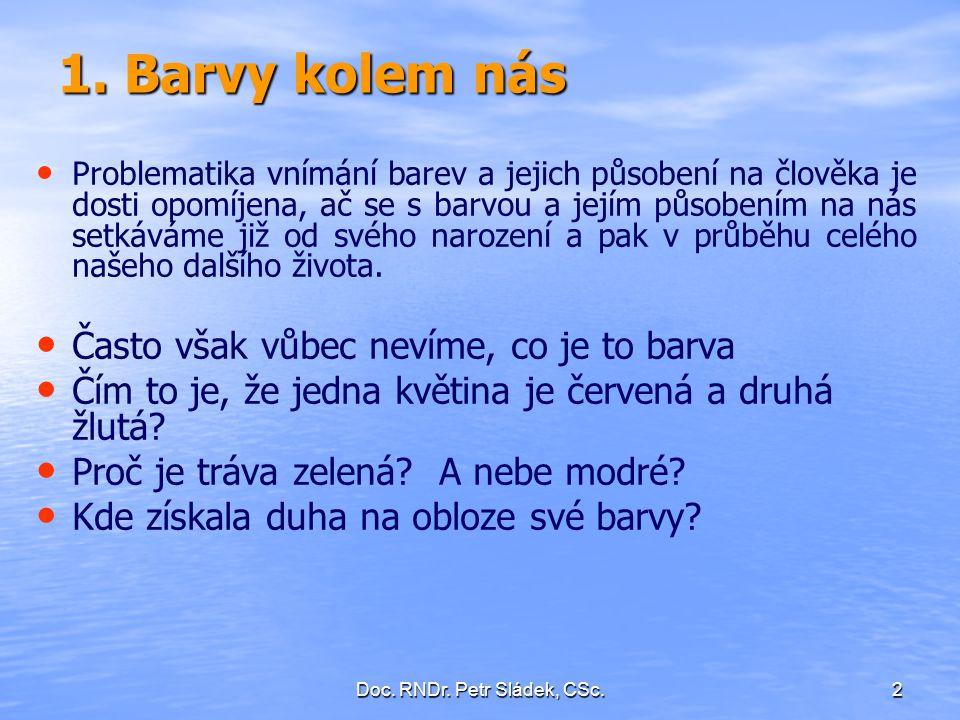 Doc. RNDr. Petr Sládek, CSc.43 Vnímání základních barev spektra normálním a barvoslepým okem