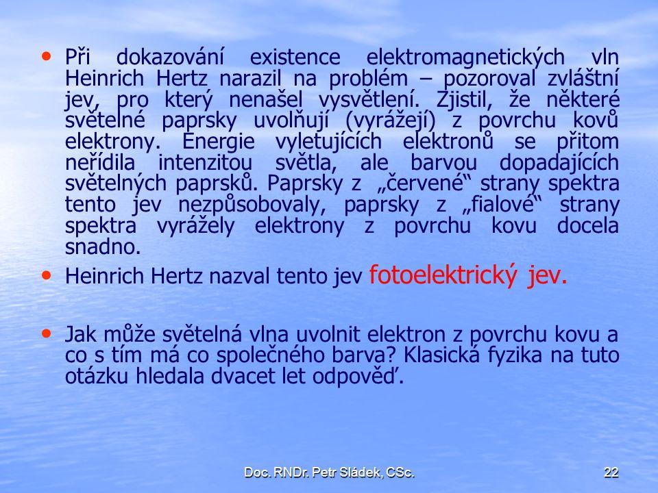 Doc. RNDr. Petr Sládek, CSc.22 Při dokazování existence elektromagnetických vln Heinrich Hertz narazil na problém – pozoroval zvláštní jev, pro který
