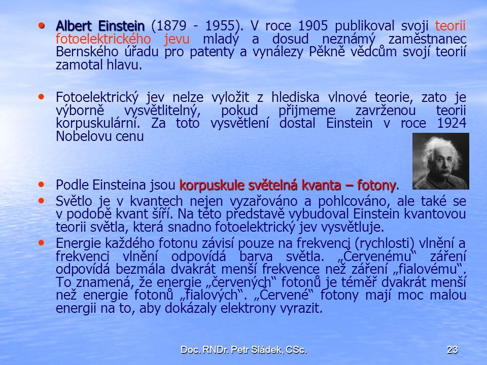 Doc. RNDr. Petr Sládek, CSc.23 Albert Einstein Albert Einstein (1879 - 1955). V roce 1905 publikoval svoji teorii fotoelektrického jevu mladý a dosud